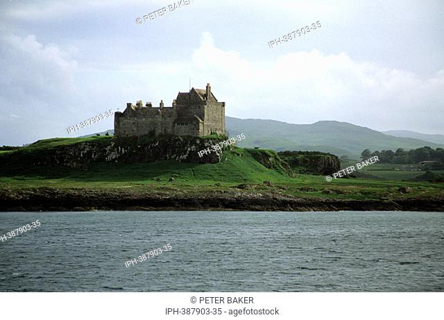 Duart Castle, stonghlod of the Clan MaClean overlooks the Sound of Mull from the Isle of Mull