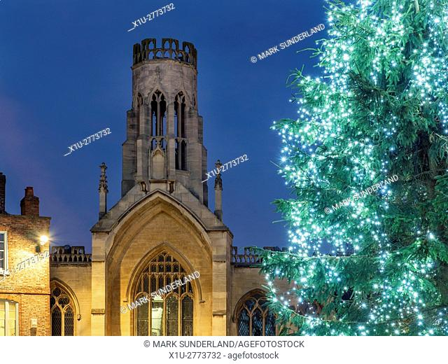 St Helen Stonegate Church and Christmas Tree in St Helens Square York Yorkshire England