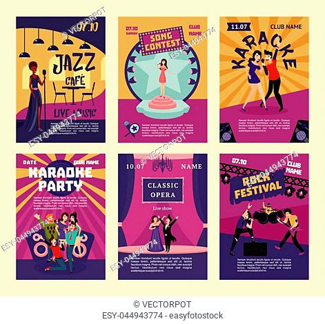 Music entertainment and karaoke posters with people singing in various musical styles at different places and events vector illustration