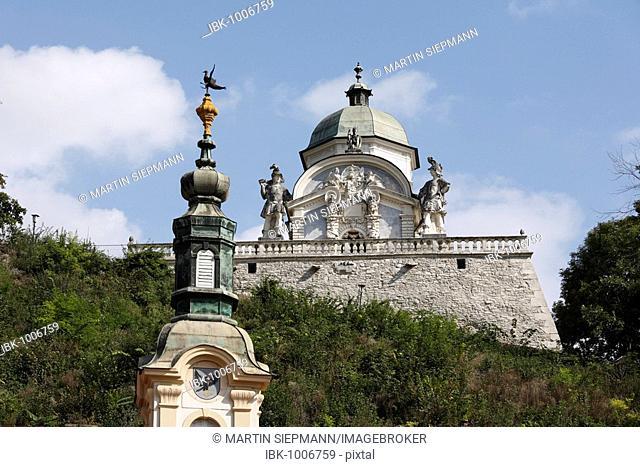 The Eggenberger family mausoleum and the spire of the parish church, Ehrenhausen, Styria, Austria, Europe