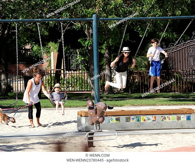 Lauren Silverman enjoys a day in the park with her two sons Adam and Eric in Beverly Hills Featuring: Lauren Silverman, Adam Silverman