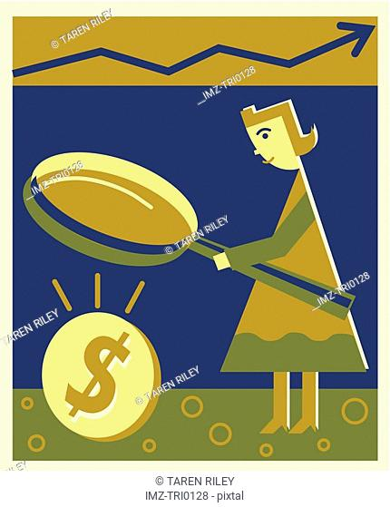 A woman looking at money through a magnifying glass