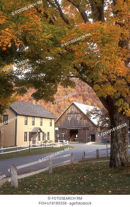 fall, historic site, Plymouth Notch, VT, Vermont, The Wilder House and Barn at the Calvin Coolidge State Historic Site in Plymouth Notch in autumn
