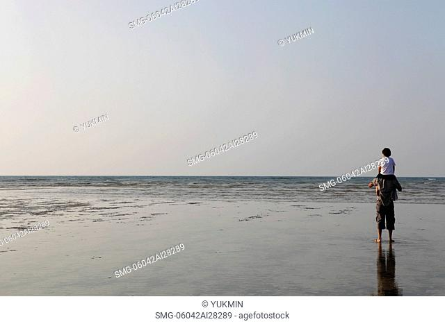 Son sitting on father's shoulders looking at beach