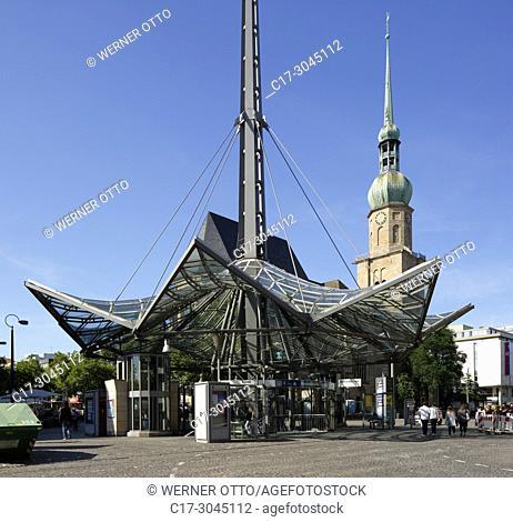 Dortmund, D-Dortmund, Ruhr area, Westphalia, North Rhine-Westphalia, NRW, Willy Brandt square, city railway station Reinoldikirche, underground station