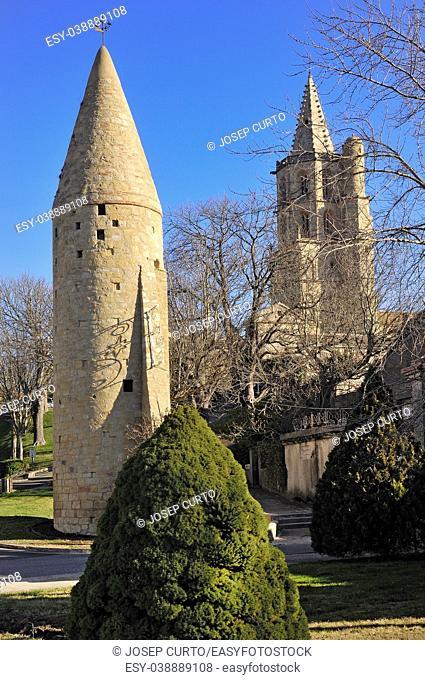 Pepper-pot tower, and Notredame des Miracle church , Avignonet-Lauragais, Haute-Garonne , France