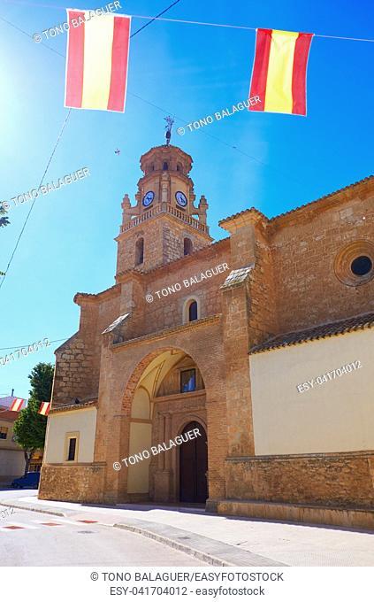 La Gineta church in Albacete at Castile La Mancha of Spain by Saint James way of Levante