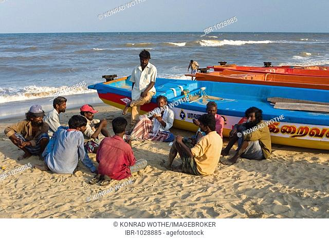 Fishermen on Marina Beach, Chennai, Madras, India, South Asia