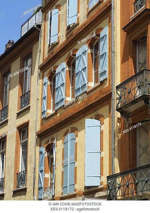 shuttered windows, Toulouse, Haute-Garonne Department, Occitanie, France