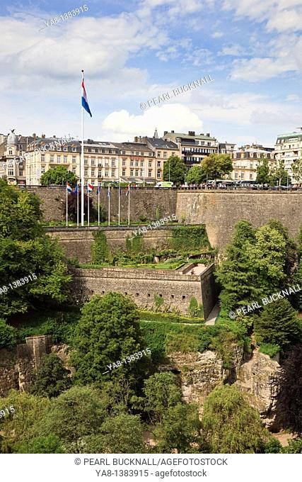 Luxembourg, Europe  View across the Pétrusse valley to the city ramparts below Boulevard Roosevelt