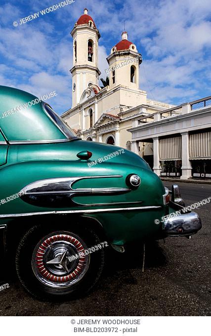 Close up of vintage car on city street