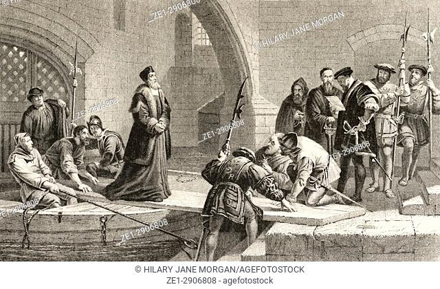 Cranmer entering the Tower of London by the Traitors Gate, to be tried for treason. Thomas Cranmer, 1489 to 1556. Leader of the English Reformation and first...