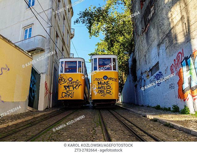 Portugal, Lisbon, View of the Gloria Funicular
