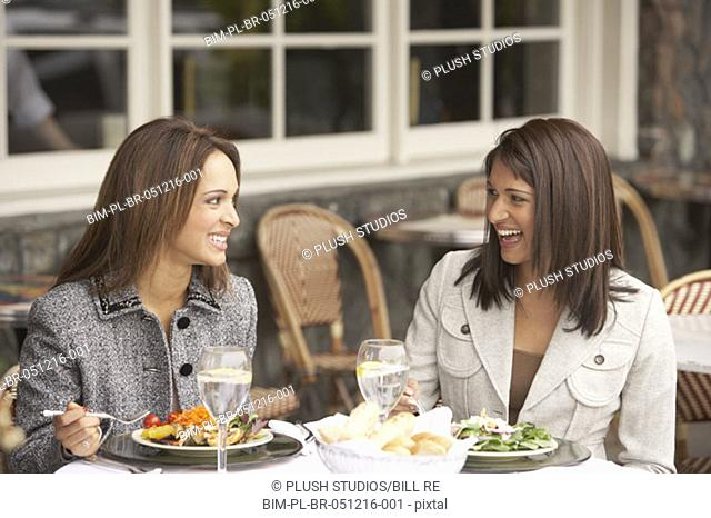 Two businesswomen having lunch outdoors, Larkspur, California, United States