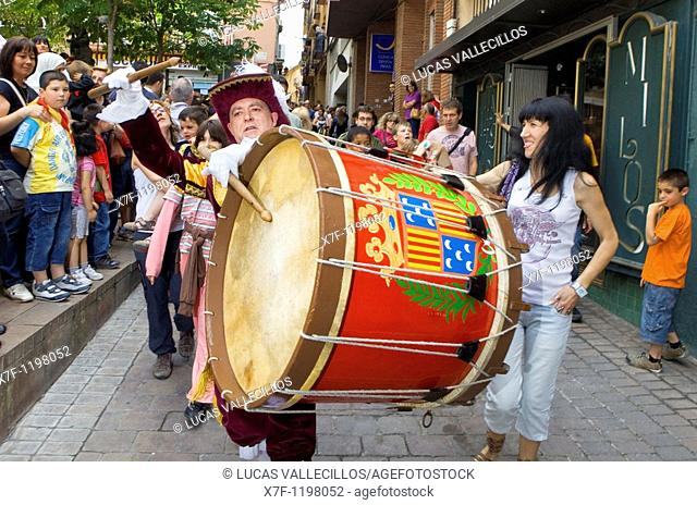 Parade `Tabaler' drummer La Patum Masterpiece of Oral and Intangible Heritage by UNESCO Berga  Barcelona  Catalonia  Spain