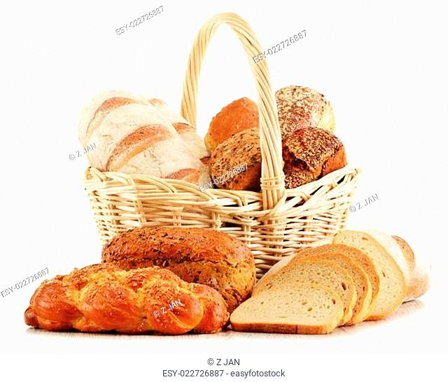 Wicker basket with baking products isolated on white