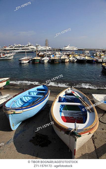 Italy, Campania, Capri, Marina Grande, boats, ships