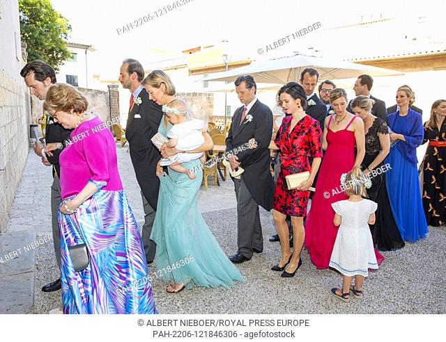 Quests arrive at the Esglesias de Montes-Son in Pollensa, on June 29, 2019, to attend the wedding of Joachim Albrecht Prince of Prussia