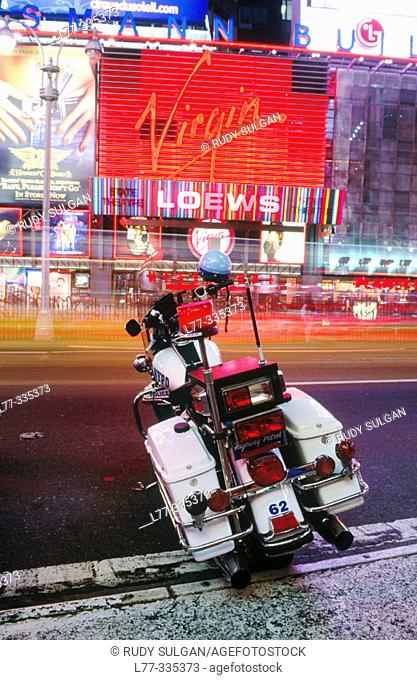 Highway patrol police motorcycle on Times Square. New York City, USA