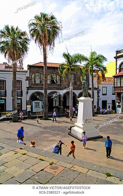 Spain square and town hall h in Santa Cruz de La palma municipality