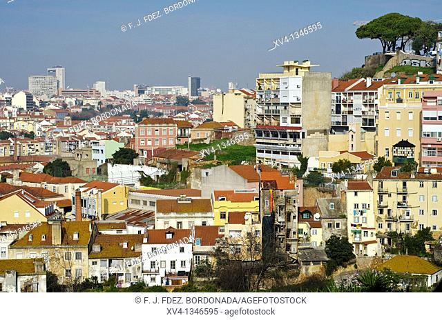View from Miradouro da Graca, Castelo Sao Jorge, Baixa, Lisbon, Portugal