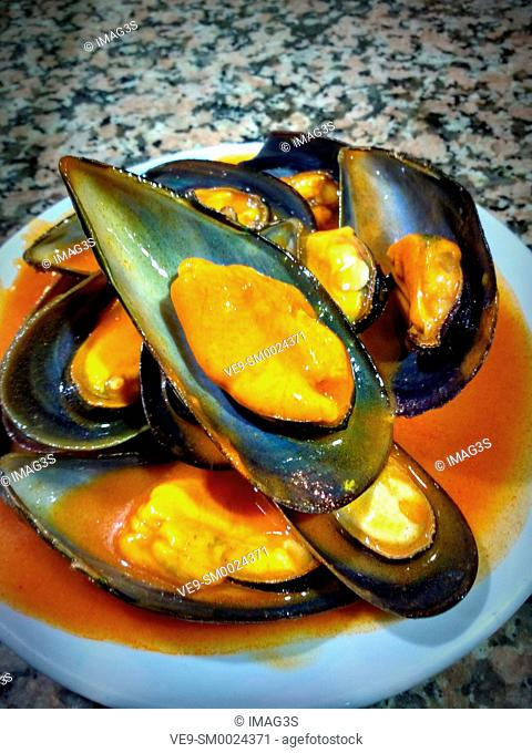 'Tiberios', mussels in pepper sauce, typical tapa in Zamora, Spain