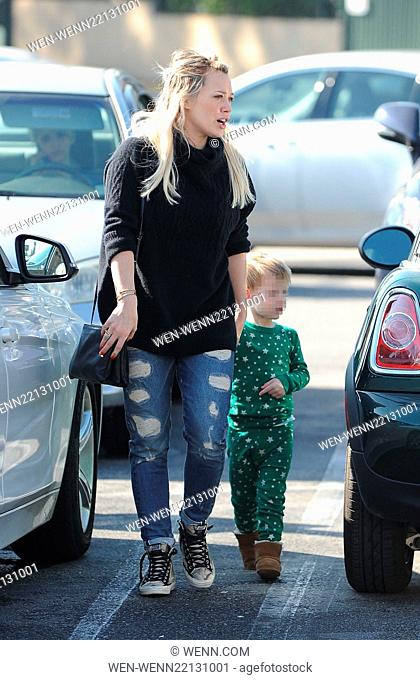 Hilary Duff has a bad hair day while out in Studio City with her son Luca Comrie Featuring: Hilary Duff, Luca Comrie Where: Los Angeles, California