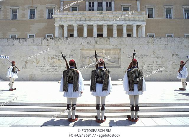 Athens, Greece, Europe, Parliament, Changing of the Guards (evzones) ceremony at the House of the Greek Parliament at Plateia Syntagmatos (Constitution Square)...