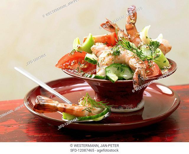 Prawn & vegetable salad with mustard dressing