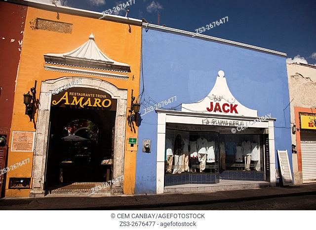 Colorful colonial buildings in the city center, Merida, Yucatan Province, Mexico, Central America
