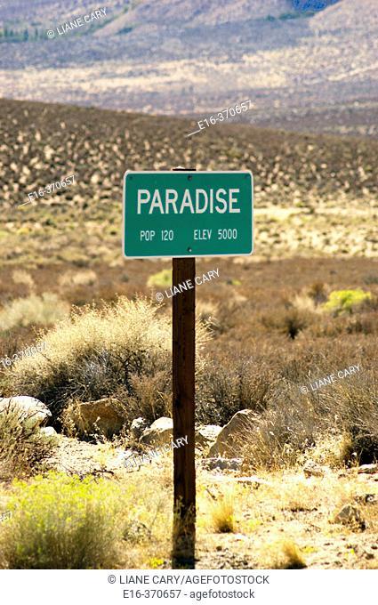 Paradise town sign. California. USA