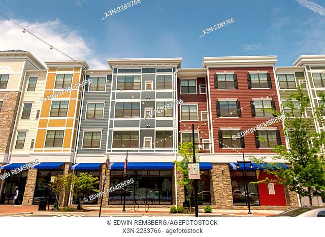 Urban renewal showing shopping and town homes at Rhode Island Row in Washington DC, USA