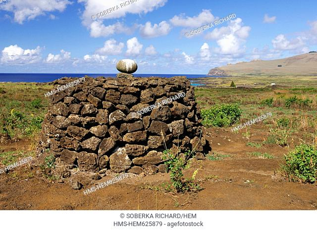 Chile, Easter Island Rapa Nui, site listed as World Heritage by UNESCO, mound of stones with sacred stone egg