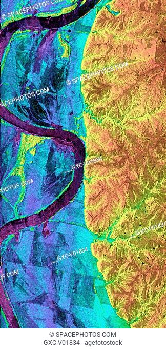 This is a combined radar and topography image of an area along the Missouri River that experienced severe flooding and levee failure in the summer of 1993