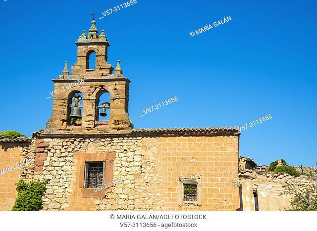 Steeple of the church. Ruins of San Roque convent, Medinaceli, Soria province, Castilla Leon, Spain