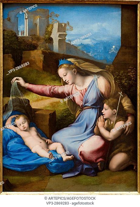 Giovanni Francesco Penni aka Il Fattore. La Vierge l'Enfant avec le petit saint Jean - The Virgin and Child with the infant Saint John. 1512