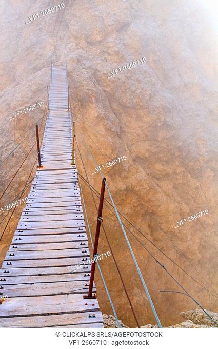 Climbing route,Ferrata Di Bona,Cortina,Ampezzo,Dolomites,Alps,Veneto,Italy