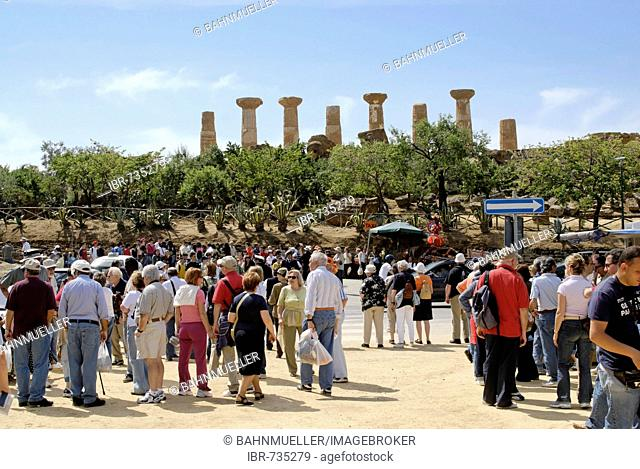 Gathering place for tourists in front of the temple of Hercules temple Agrigento Sicily Italy