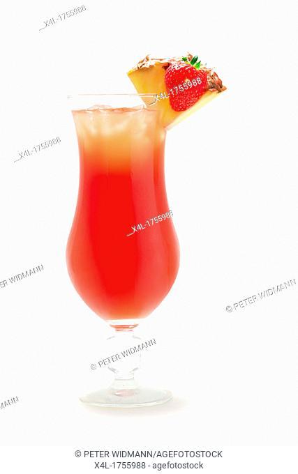 Cocktail, Tropicana vodka, strawberry syrup, mango juice, lime juice