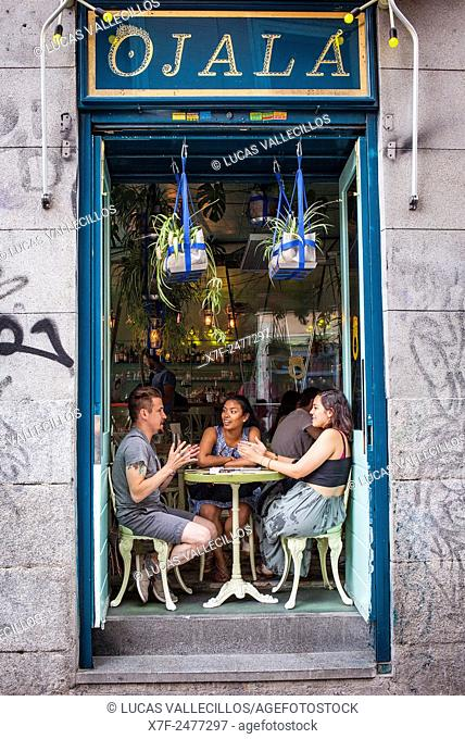 Restaurante Ojala, Calle de San Andres 1, in Malasana quarter. Madrid, Spain