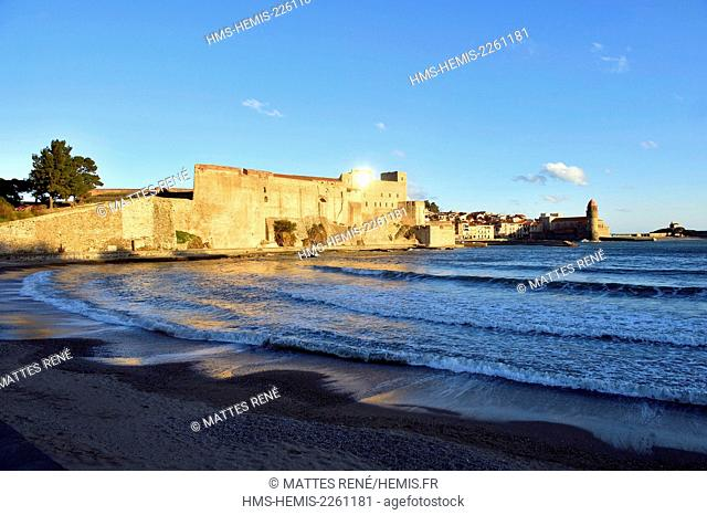 France, Pyrenees Orientales, Collioure, church of Notre Dame des Anges, the Royal castle dated XIIIth century