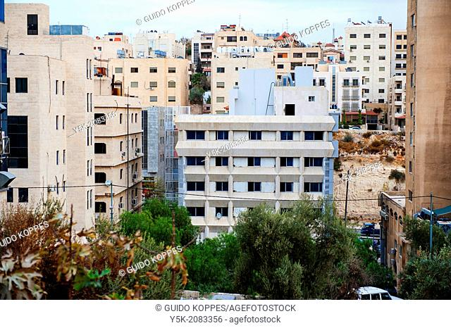 Amman, Jordan, Middle-East. Buildings in Amman usually have only ten stories maximum, and were build close together
