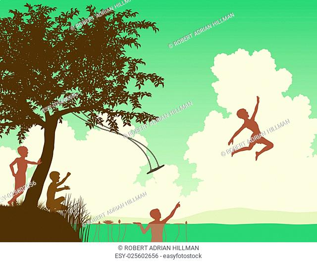 Editable vector illustration of young boys leaping off a tree swing into a lake or river