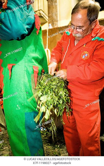 Getting ready the `Plens'  La Patum Masterpiece of Oral and Intangible Heritage by UNESCO Berga  Barcelona  Catalonia  Spain