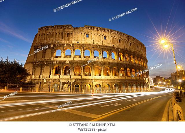 The colosseum by night, Rome, Italy