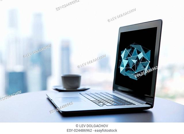 science, cyberspace and 3d technology concept - close up of open laptop computer with low poly structure on screen and coffee cup on table at office or hotel...