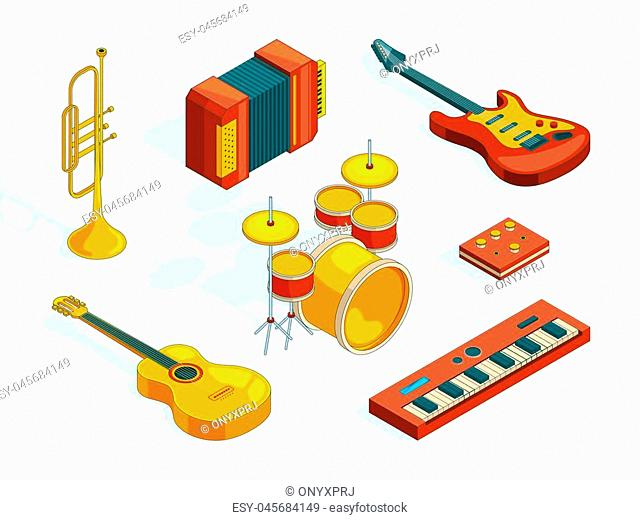 Musical instruments. Isometric pictures set of various colored musician tools. Instrument musical, guitar and piano, classical accordion
