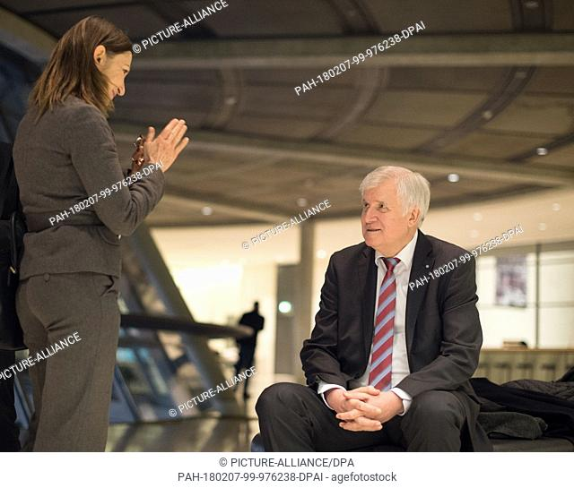 Horst Seehofer, chairman of the Christian Social Union (CSU), waits for an interview to begin in front of the faction hall in the German Bundestag in Berlin