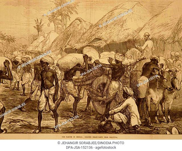 Lithographs Famine in Bengal Loading Grain Cart near Calcutta ; West Bengal ; India