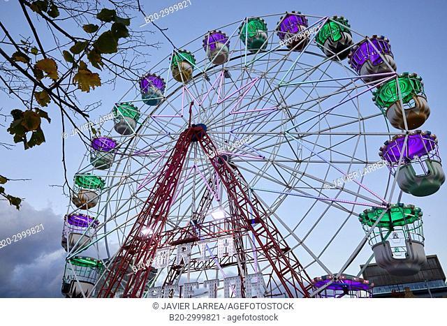 Ferris wheel, Christmas, Donostia, San Sebastian, Gipuzkoa, Basque Country, Spain, Europe